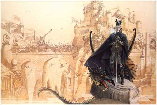 Elric of Melnibone poses with a fan, shortly before killing everyone on the bridge behind him.